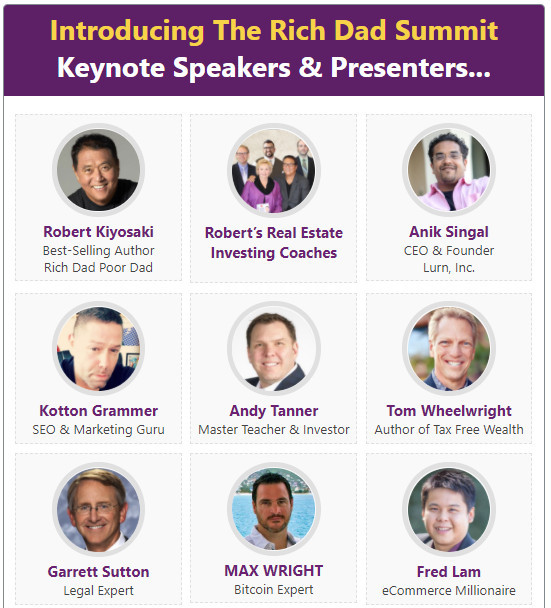What Is Rich Dad Summit About - Robert Kiyosaki and 8 other speakers