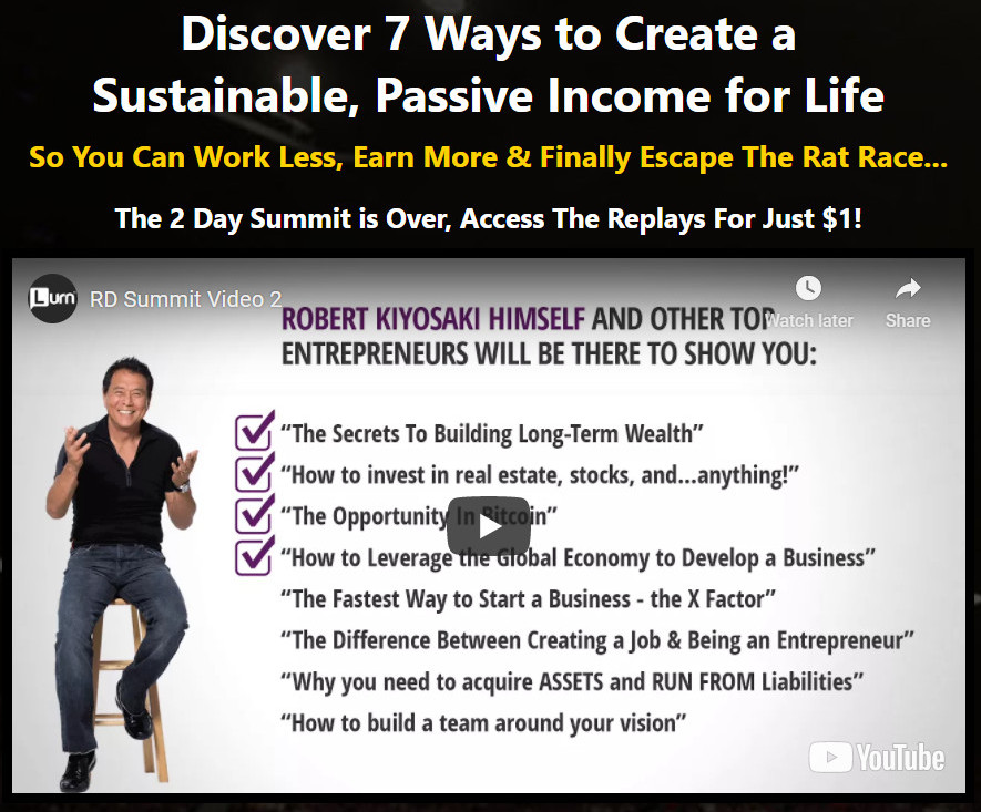 What Is Rich Dad Summit About - 7 ways to create a passive income