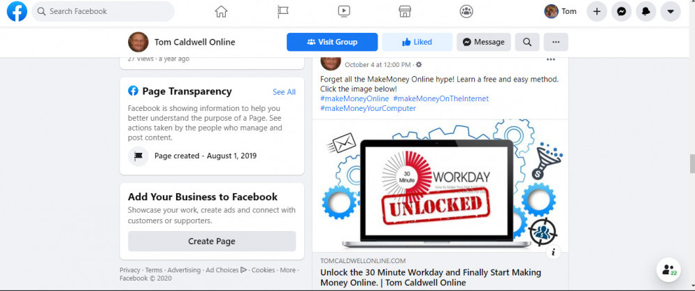 Facebook post with email opt-in
