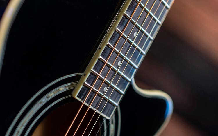 Closeup photo of the higher frets on a Washburn Festival EA12 Guitar
