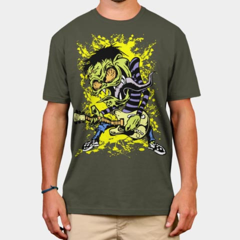 Left handed guitar shirts - Zombie Rock Musicians