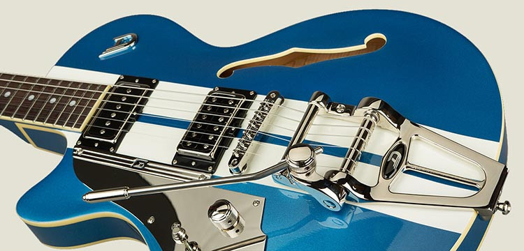 Left Handed Duesenberg Guitars - Starplayer TV Mike Campbell I in Blue Metallic finish with white racing stripes
