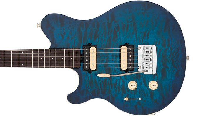 Left Handed Music Man Guitars - Axis Super Sport - Balboa Blue Burst Quilt