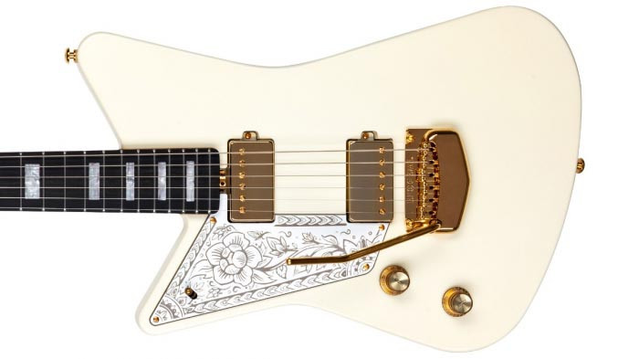 Left Handed Music Man Guitars - Imperial White Mariposa