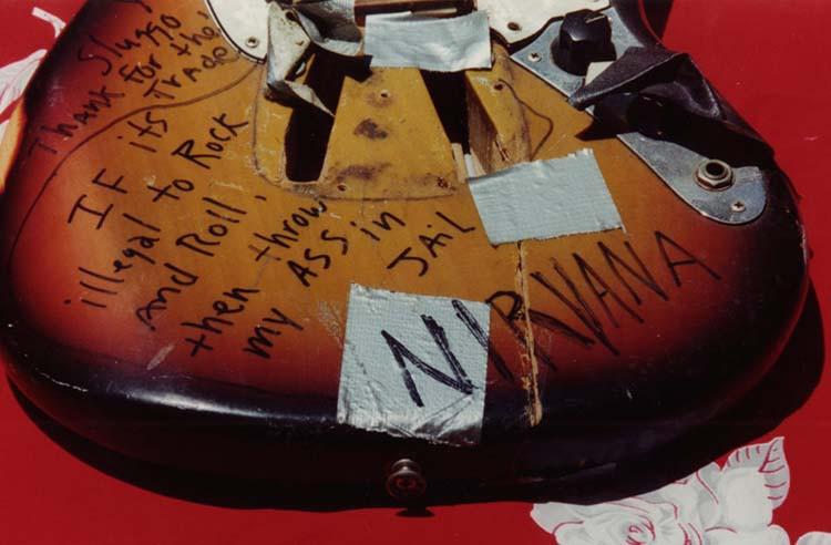 Close up of Kurt Cobain's smashed 1973 Fender Mustang