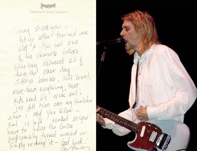 Courtney Love's Letter and Kurt Cobain playing his Sky Blue 1993 Fender Mustang