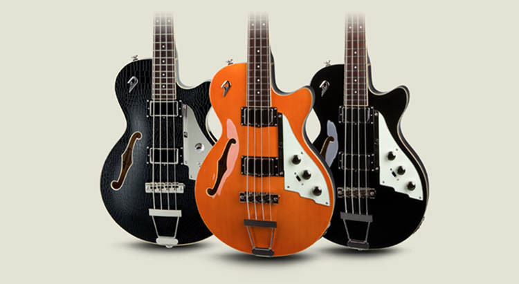 Three Duesenberg Starplayer TV Bass Guitars; finishes are Outlaw, Vintage Orange and All Black