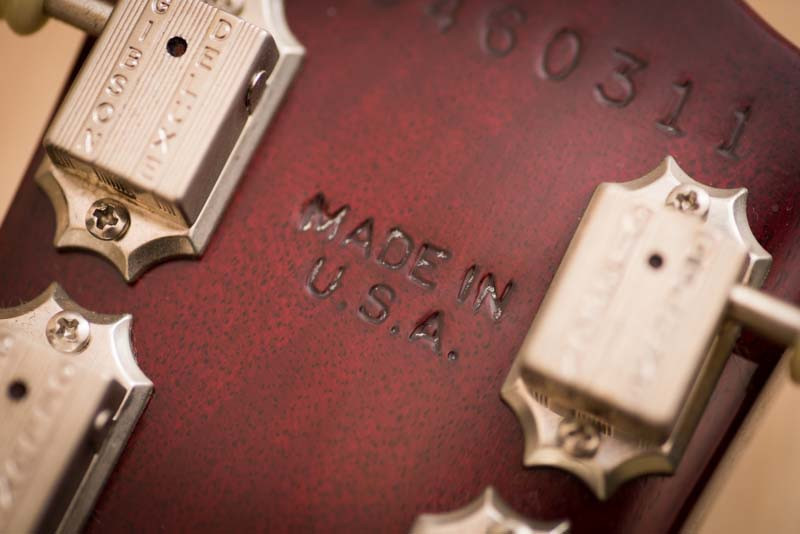 Left Handed Gibson Les Paul Studio review - closeup of the back of the headstock says Made in USA