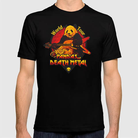Left handed guitar shirts - Pandas of Death Metal