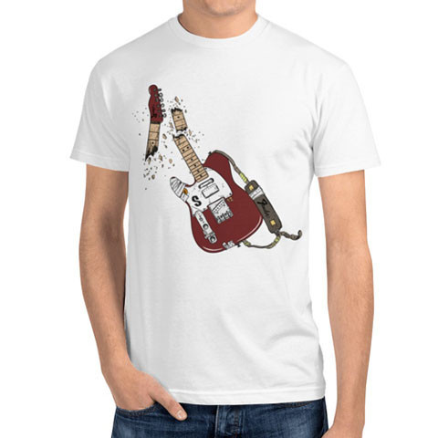 Left handed guitar shirts - Red Fender Broken