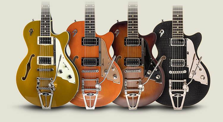 Four Duesenberg Starplayer TV Guitars; Gold Top, Vintage Orange, Vintage Burst and Outlaw