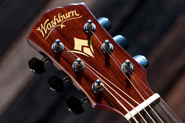 Headstock of a Washburn acoustic guitar