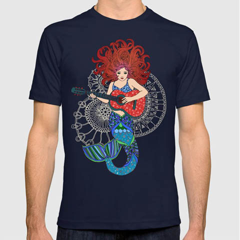 Left handed guitar shirts - Musical Mermaid