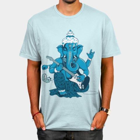 Left handed guitar shirts - Ganesha Rocks!