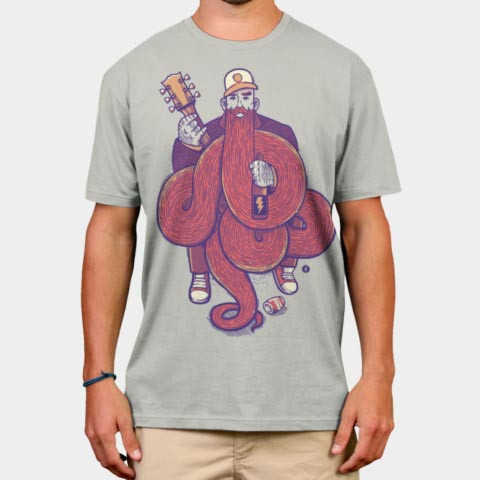 Left handed guitar shirts - Rock Beard
