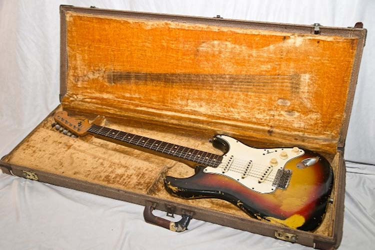 Jimi Hendrix' Sunburst 1964 Fender Stratocaster in its case