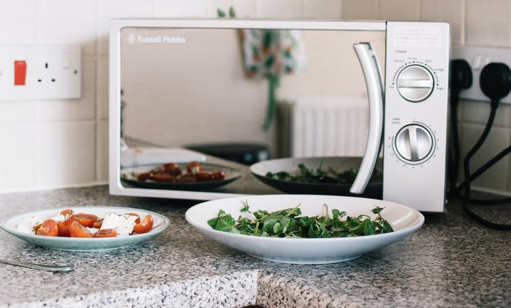 How to make meal prep easy - Russell Hobbs silver microwave on kitchen counter