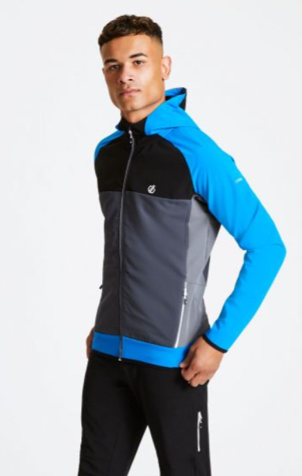 Workout tops for men - Men's Aptile Hooded Softshell Jacket Athletic Blue Ebony Grey