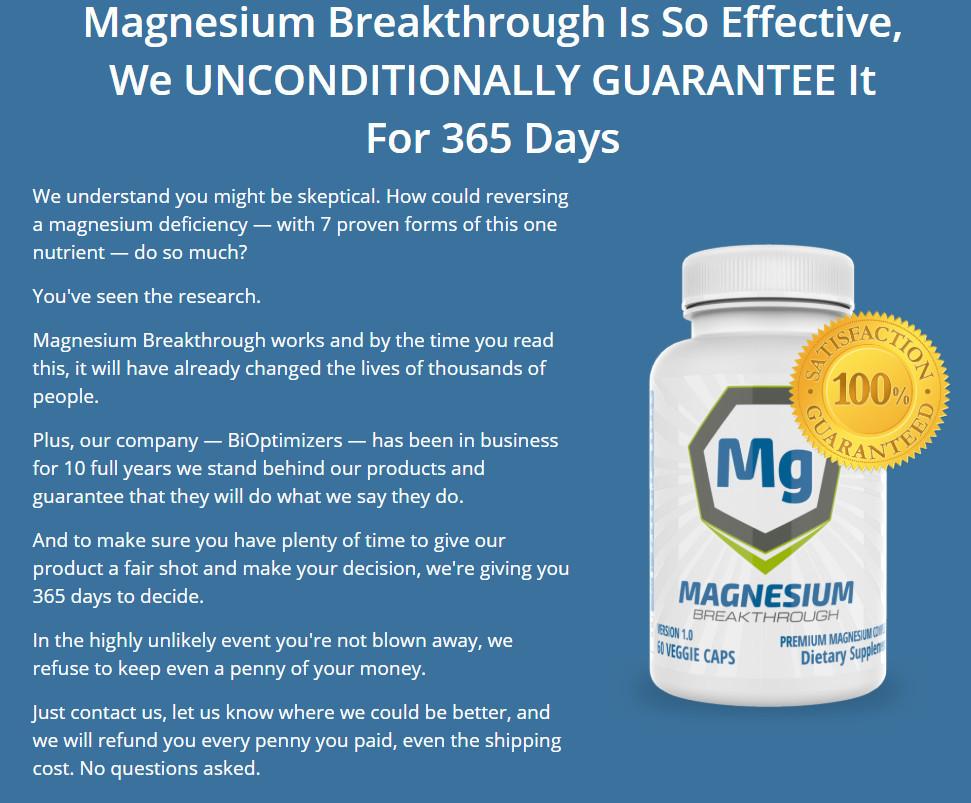 Magnesium Breakthrough 365 Days Guarantee