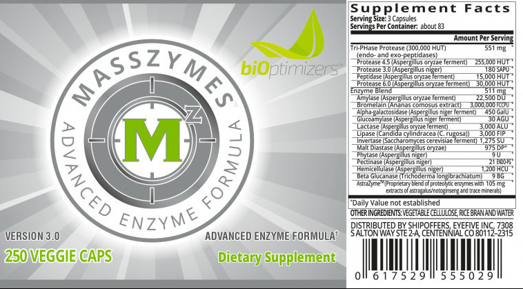 MassZymes Ingredients label