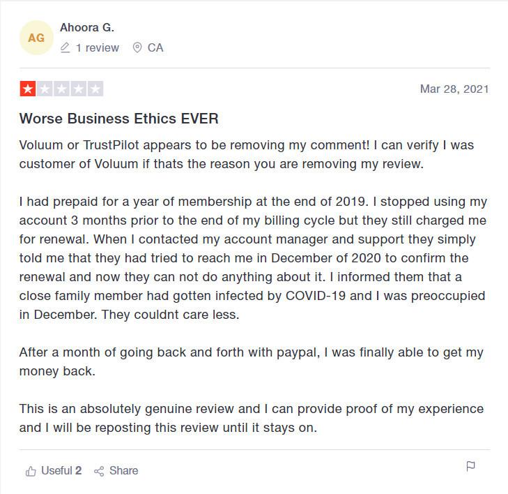 Voluum Negative customer reviews trustpilot
