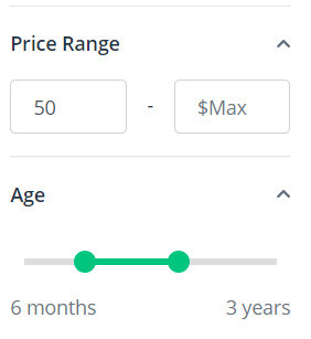 flippa price range and website age search
