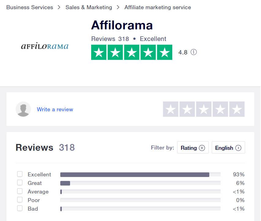 affilorama reviews trustpilot