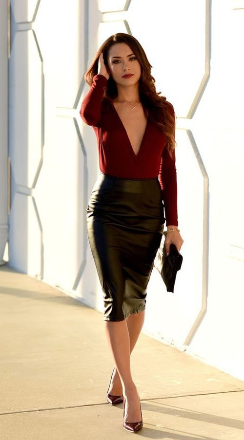 woman in leather pencil skirt