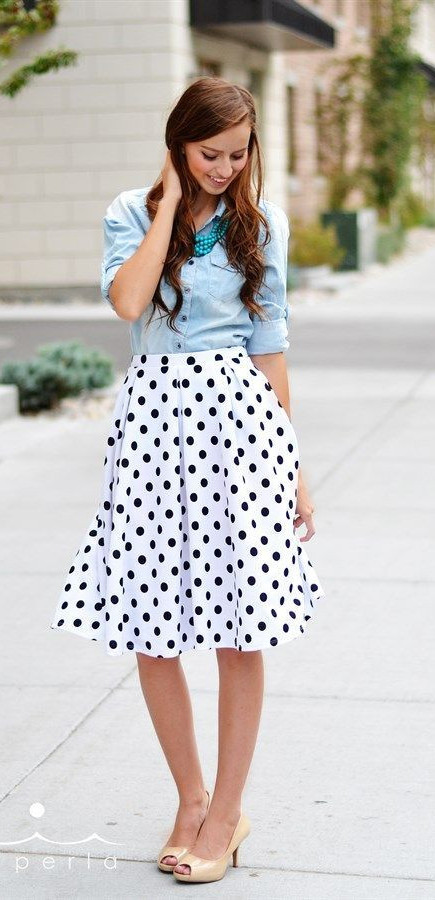 girl in dotted skirt