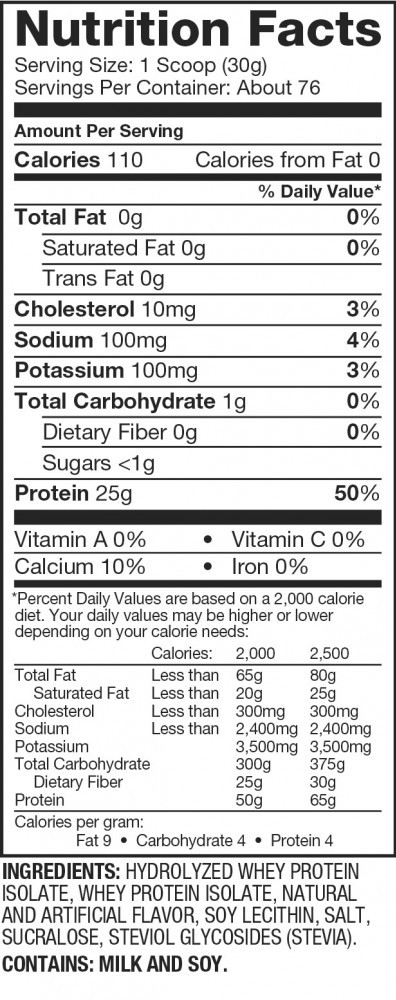 Dymatize Hydrolized Whey Protein Ingredients