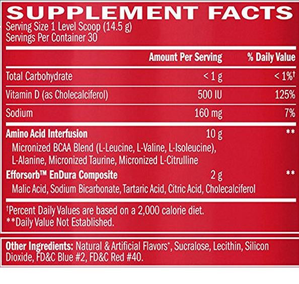 Amino x ingredients