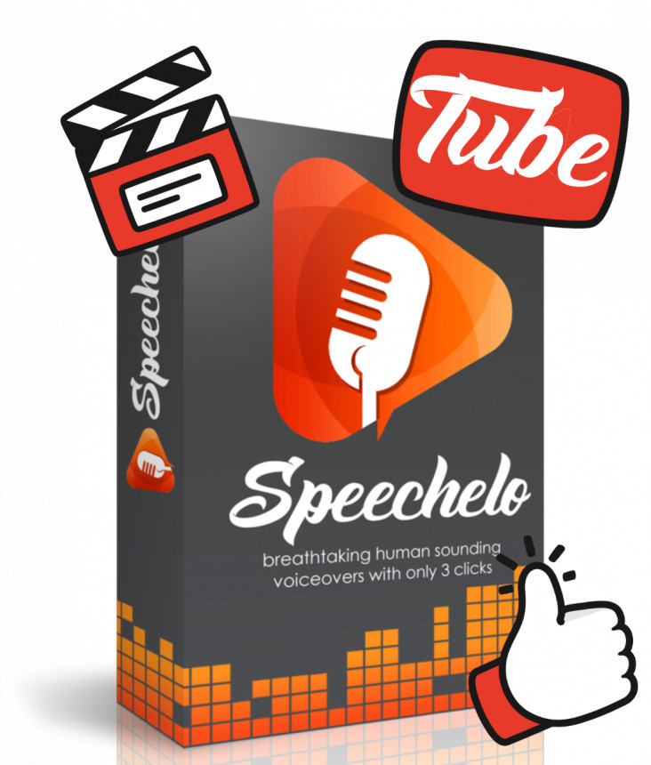 Product Packet in grey and orange with text Speechelo