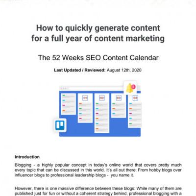 52 Week content SEO Calendar from SEOBuddy