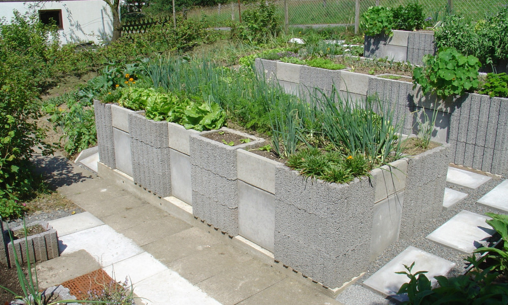cement block raised garden bed