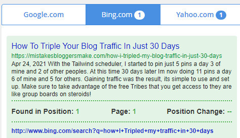 Bing Search Result How To Triple Your Blog Traffic In Just 30 Days