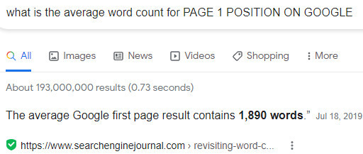 average word count page 1 google