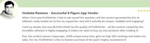 Profitwriter testamonial venkata ramana