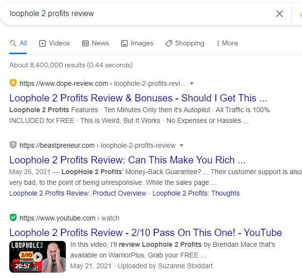 Loophole 2 Profits Google Search Results
