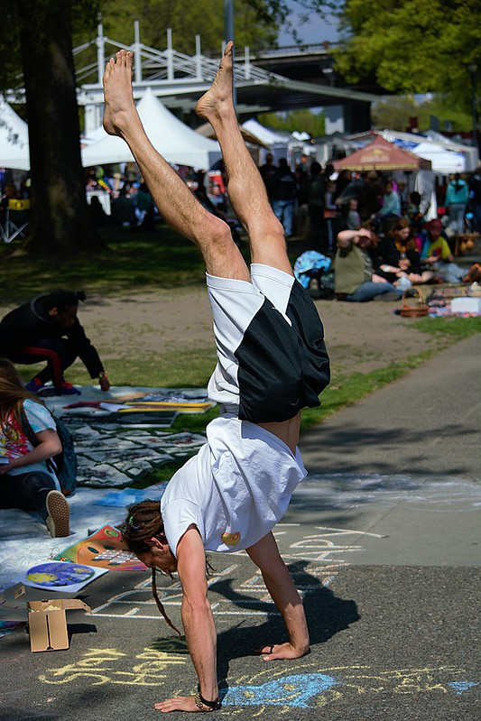 A man performing a handstand