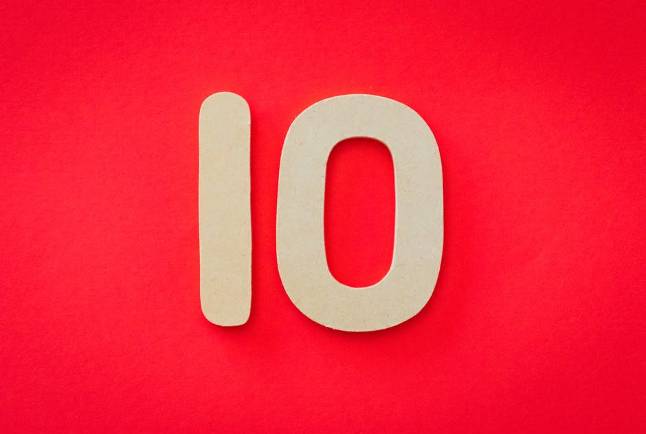 The Number 10 in white on a red background