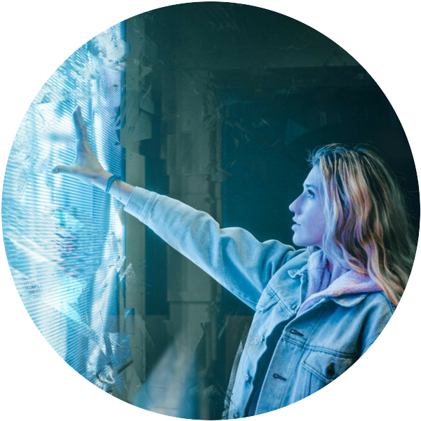 A Woman Reaching Out And Touching A Bright Blue Light Source