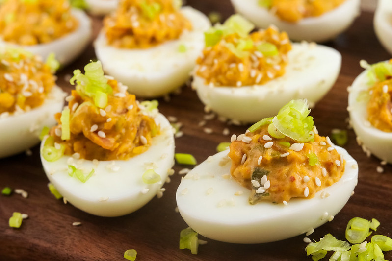 Keto Bacon and Kimchi Deviled Eggs