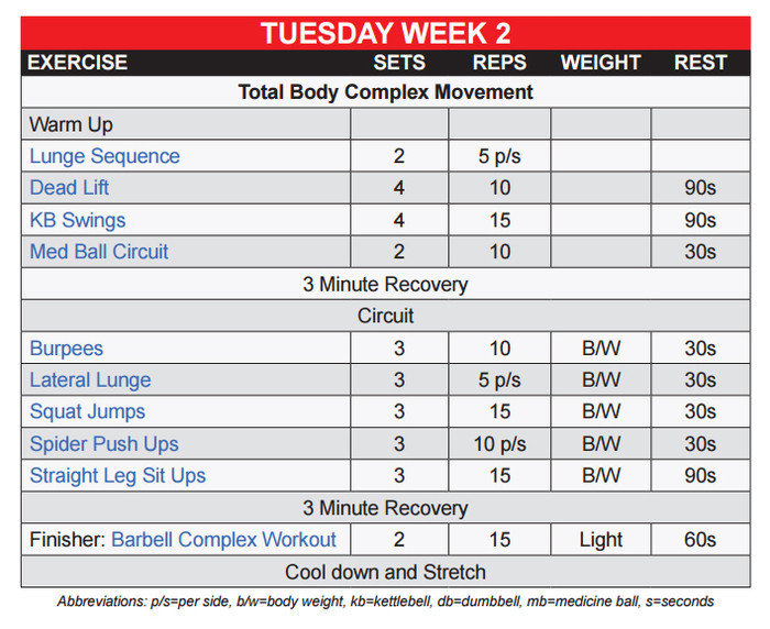 Workout For Tuesday Week 2