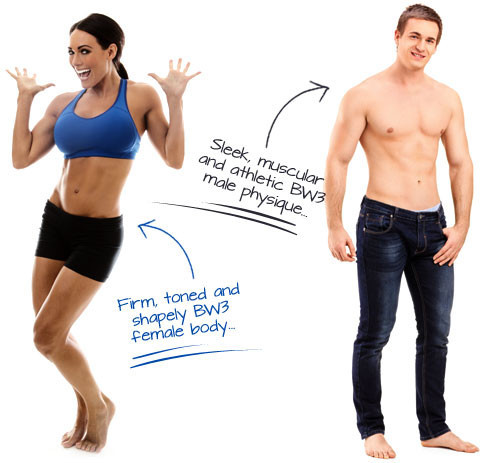 A woman and a man showing the type of body you can hope to achieve with the Bodyweight Burn System