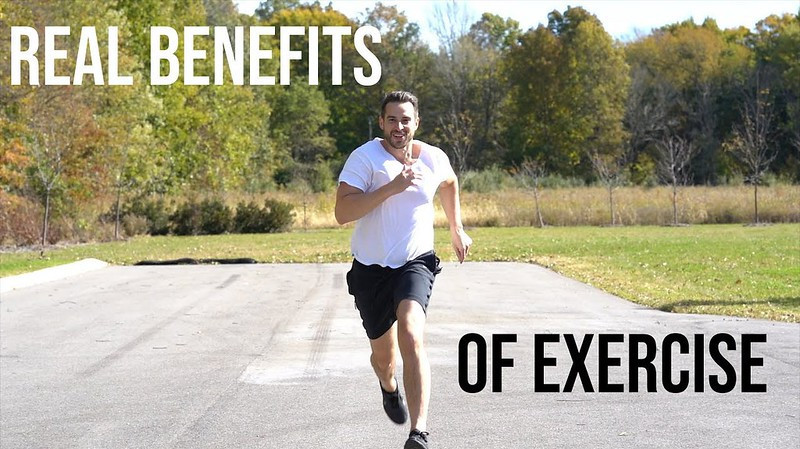 """A man running along a road with the words """"Real Benefits of Exercise"""" in the background"""