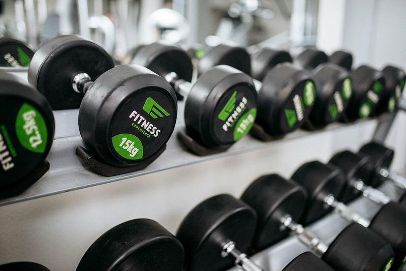 Dumbbells Racked in the Gym