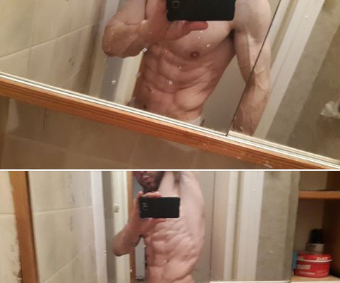 Mark Kislich with the photo of his body he shared on his Facebook timeline