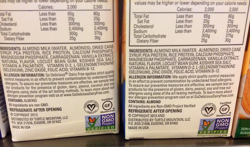 List of ingredients on the back of an almond milk carton