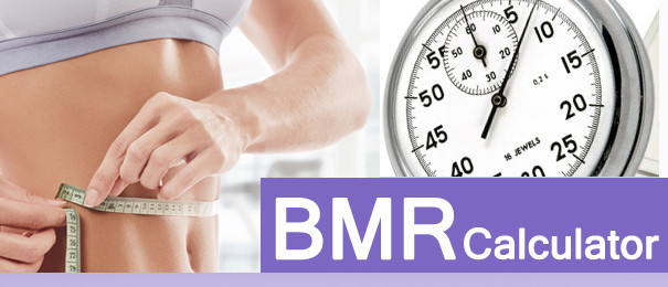 BMR Calculator - a woman with a measuring tape around her waist and a stopwatch in the background