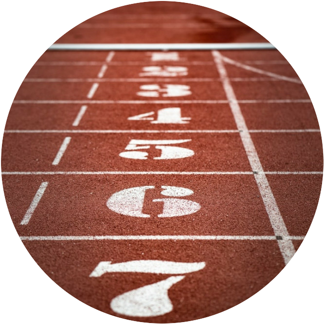 Numbers One to Seven on A Running Track